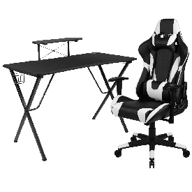 Black Gaming Desk and Black Reclining Gaming Chair Set with Cup Holder, Headphone Hook, and Monitor/Smartphone Stand