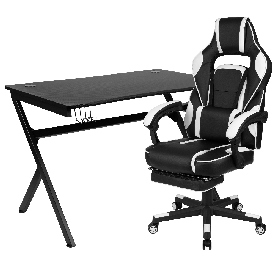 Black Gaming Desk with Cup Holder/Headphone Hook/2 Wire Management Holes & White Reclining Back/Arms Gaming Chair with Footrest
