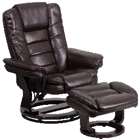 Contemporary Multi-Position Recliner with Horizontal Stitching and Ottoman with Swivel Mahogany Wood Base in Brown LeatherSoft