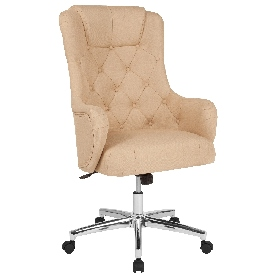 Chambord Home and Office Upholstered High Back Chair in Beige Fabric