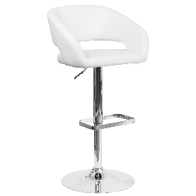 Contemporary White Vinyl Adjustable Height Barstool with Rounded Mid-Back and Chrome Base