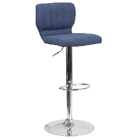 Contemporary Blue Fabric Adjustable Height Barstool with Vertical Stitch Back and Chrome Base