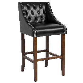 """Carmel Series 30"""" High Transitional Tufted Walnut Barstool with Accent Nail Trim in Black LeatherSoft"""