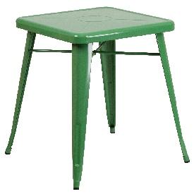 "Commercial Grade 23.75"" Square Green Metal Indoor-Outdoor Table"
