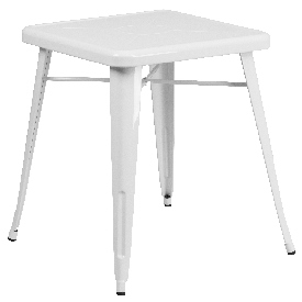 """Commercial Grade 23.75"""" Square White Metal Indoor-Outdoor Table"""