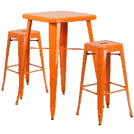 """Commercial Grade 23.75"""" Square Orange Metal Indoor-Outdoor Bar Table Set with 2 Square Seat Backless Stools"""