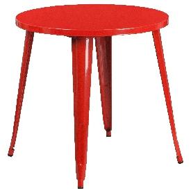 "Commercial Grade 30"" Round Red Metal Indoor-Outdoor Table"
