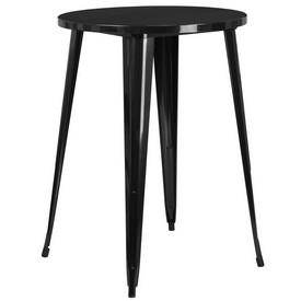 "Commercial Grade 30"" Round Black Metal Indoor-Outdoor Bar Height Table"