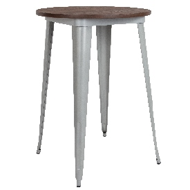 """30"""" Round Silver Metal Indoor Bar Height Table with Walnut Rustic Wood Top"""