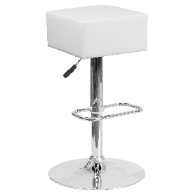 Contemporary White Vinyl Adjustable Height Barstool with Square Seat and Chrome Base