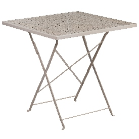 """Commercial Grade 28"""" Square Light Gray Indoor-Outdoor Steel Folding Patio Table"""