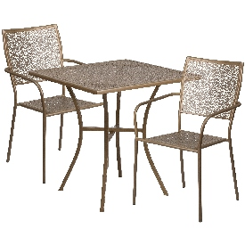 """Commercial Grade 28"""" Square Gold Indoor-Outdoor Steel Patio Table Set with 2 Square Back Chairs"""