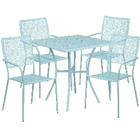 """Commercial Grade 28"""" Square Sky Blue Indoor-Outdoor Steel Patio Table Set with 4 Square Back Chairs"""