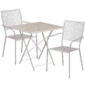 """Commercial Grade 28"""" Square Light Gray Indoor-Outdoor Steel Folding Patio Table Set with 2 Square Back Chairs"""
