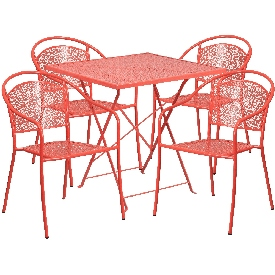 """Commercial Grade 28"""" Square Coral Indoor-Outdoor Steel Folding Patio Table Set with 4 Round Back Chairs"""