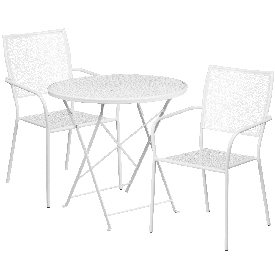 """Commercial Grade 30"""" Round White Indoor-Outdoor Steel Folding Patio Table Set with 2 Square Back Chairs"""