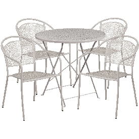 """Commercial Grade 30"""" Round Light Gray Indoor-Outdoor Steel Folding Patio Table Set with 4 Round Back Chairs"""