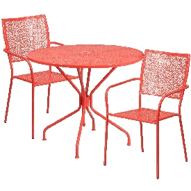 """Commercial Grade 35.25"""" Round Coral Indoor-Outdoor Steel Patio Table Set with 2 Square Back Chairs"""