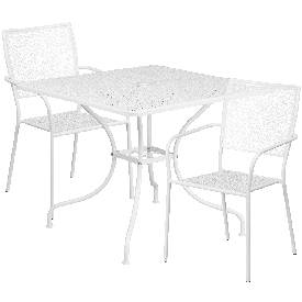 """Commercial Grade 35.5"""" Square White Indoor-Outdoor Steel Patio Table Set with 2 Square Back Chairs"""