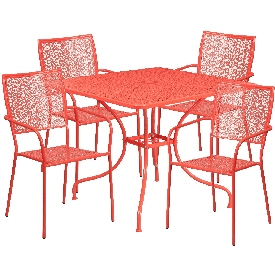 """Commercial Grade 35.5"""" Square Coral Indoor-Outdoor Steel Patio Table Set with 4 Square Back Chairs"""