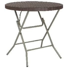 2.63-Foot Round Brown Rattan Plastic Folding Table