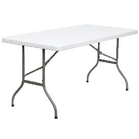 5-Foot Granite White Plastic Folding Table, DAD-YCZ-152-GG