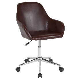 Cortana Home and Office Mid-Back Chair in Brown LeatherSoft