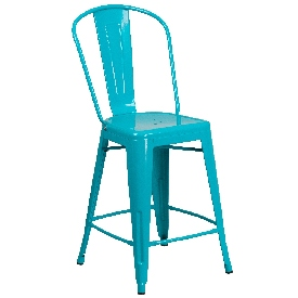 """Commercial Grade 24"""" High Crystal Teal-Blue Metal Indoor-Outdoor Counter Height Stool with Back"""