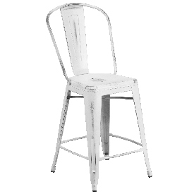 """Commercial Grade 24"""" High Distressed White Metal Indoor-Outdoor Counter Height Stool with Back"""
