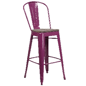 """30"""" High Purple Metal Barstool with Back and Wood Seat"""
