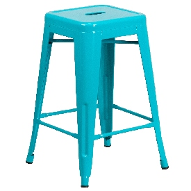 """Commercial Grade 24"""" High Backless Crystal Teal-Blue Indoor-Outdoor Counter Height Stool"""