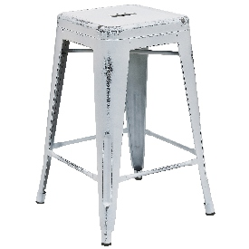 """Commercial Grade 24"""" High Backless Distressed White Metal Indoor-Outdoor Counter Height Stool"""