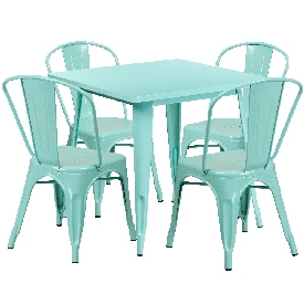 """Commercial Grade 31.5"""" Square Mint Green Metal Indoor-Outdoor Table Set with 4 Stack Chairs"""