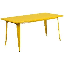 """Commercial Grade 31.5"""" x 63"""" Rectangular Yellow Metal Indoor-Outdoor Table"""