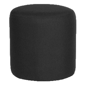 Barrington Upholstered Round Ottoman Pouf in Black Fabric
