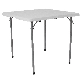 2.79-Foot Square Bi-Fold Granite White Plastic Folding Table with Carrying Handle