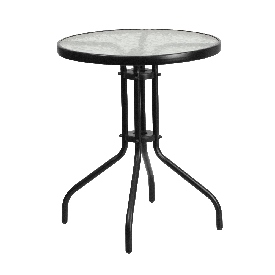 23.75'' Round Tempered Glass Metal Table