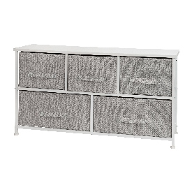 5 Drawer Wood Top White Cast Iron Frame Vertical Storage Dresser with Light Gray Easy Pull Fabric Drawers