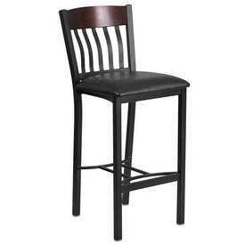 Eclipse Series Vertical Back Black Metal and Walnut Wood Restaurant Barstool with Black Vinyl Seat
