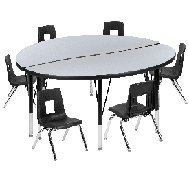 """47.5"""" Circle Wave Flexible Laminate Activity Table Set with 12"""" Student Stack Chairs, Grey/Black"""