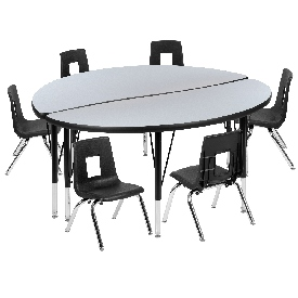 """47.5"""" Circle Wave Flexible Laminate Activity Table Set with 14"""" Student Stack Chairs, Grey/Black"""