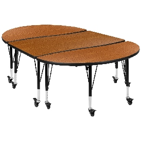 """3 Piece Mobile 76"""" Oval Wave Flexible Oak Thermal Laminate Activity Table Set - Height Adjustable Short Legs"""
