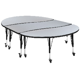 """3 Piece Mobile 86"""" Oval Wave Flexible Grey Thermal Laminate Activity Table Set - Height Adjustable Short Legs"""