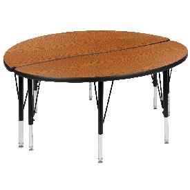 "2 Piece 47.5"" Circle Wave Flexible Oak Thermal Laminate Activity Table Set - Height Adjustable Short Legs"
