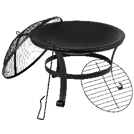"""22"""" Round Wood Burning Firepit with Mesh Spark Screen and Poker"""