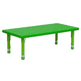 24''W x 48''L Rectangular Green Plastic Height Adjustable Activity Table