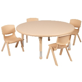 """45"""" Round Natural Plastic Height Adjustable Activity Table Set with 4 Chairs"""