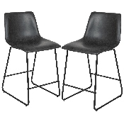 24 inch LeatherSoft Counter Height Barstools in Gray, Set of 2