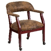 Bomber Jacket Brown Luxurious Conference Chair with Accent Nail Trim and Casters