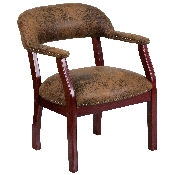 Bomber Jacket Brown Luxurious Conference Chair with Accent Nail Trim